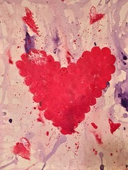 """For the Love of Art Month will showcase a variety of visual and performing arts in venues throughout the Mesilla Valley. Shown here is """"Hearts"""" by Kayla Blundell, a featured artist in Las Cruces Arts Association exhibits at Main Street Bistro & Ale House and Café de Mesilla."""