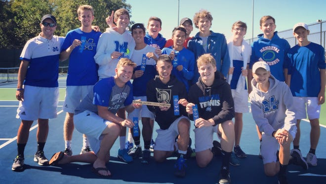 The Evansville Memorial High boys' tennis poses for a team photo after winning the 2016 Jasper Semi-State championship.