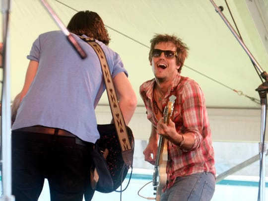 Houndmouth performs at the 54th edition of the Newport Folk Festival in Newport, R.I. on Saturday, July 27, 2013.  With acts appearing on four stages the sold out festival continues through Sunday.  (AP Photo/Joe Giblin)