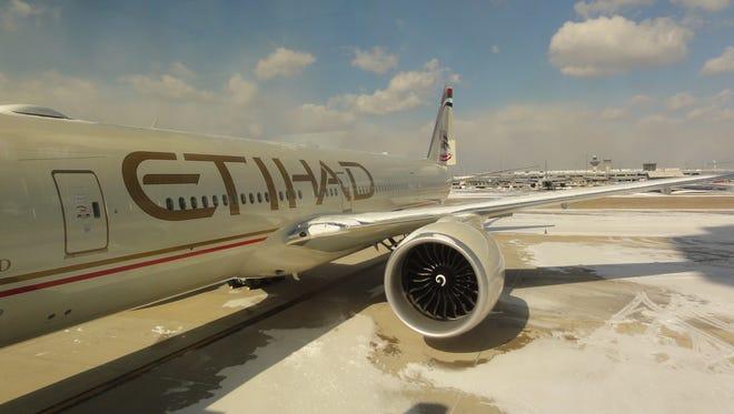 An Etihad Airways aircraft at Washington Dulles International Airport on Jan. 24, 2013.