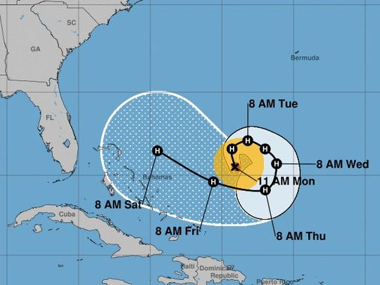 The projected path of Hurricane Jose, as of Monday