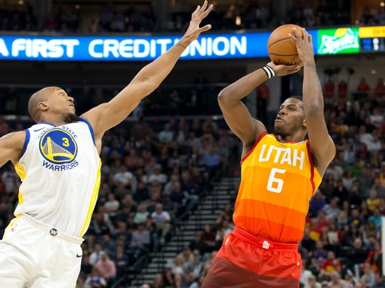 Utah Jazz guard Joe Johnson (6) shoots the ball against