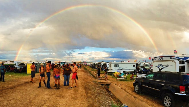 Festival-goers were treated to a rainbow over the festivities during Day 2 of Country Thunder Arizona on Friday, April 8, 2016, in Florence.