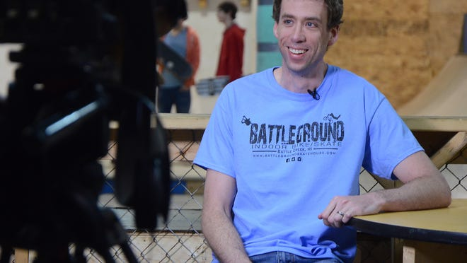 "Andrew Wichterman of Battleground skateboard park is ready to be interviewed for the television show ""The Real Winning Edge."""