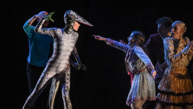 """Members of Ballet Vero Beach run through a full dress rehearsal Dec. 28 of """"Nutcracker on the Indian River"""" at the Vero Beach Performing Arts Center at Vero Beach High School. Characters included Florida creatures such as manatees, dolphins, sea turtles and pelicans."""