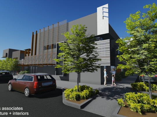An architect's rendering shows plans for 777 S. Center St. in Reno, a building that housed Maytan Music for 35 years.