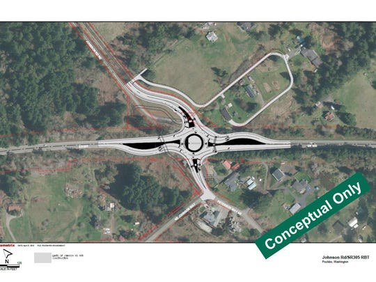 A view of the proposed Highway 305-Johnson Road roundabout.