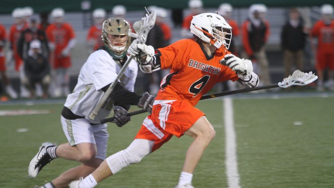 Brighton's Drew Billig (4) had five goals and two assists in a 20-15 lacrosse victory over Howell on Wednesday, April 18, 2018.