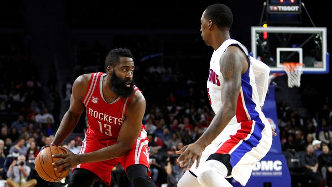 Nov 21, 2016; Auburn Hills, MI, USA; Houston Rockets guard James Harden is defended by Pistons guard Kentavious Caldwell-Pope during the second quarter at the Palace of Auburn Hills.
