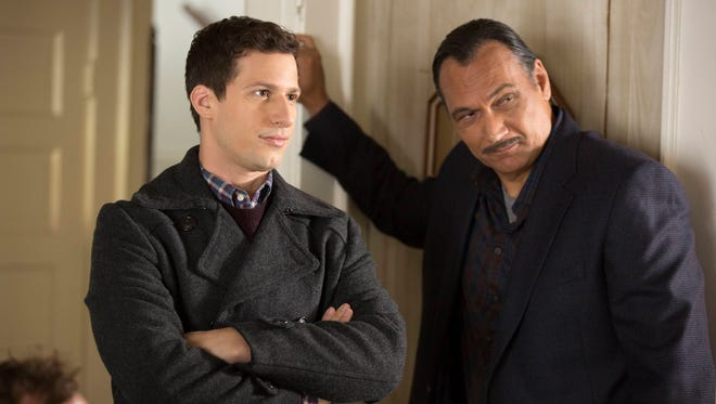 Andy Samberg and guest star Jimmy Smits on Fox's 'Brooklyn Nine-Nine.'