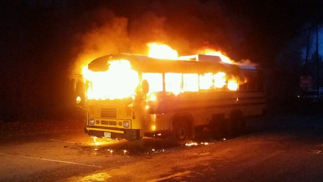 A Toms River school bus went up in flames Wednesday morning.