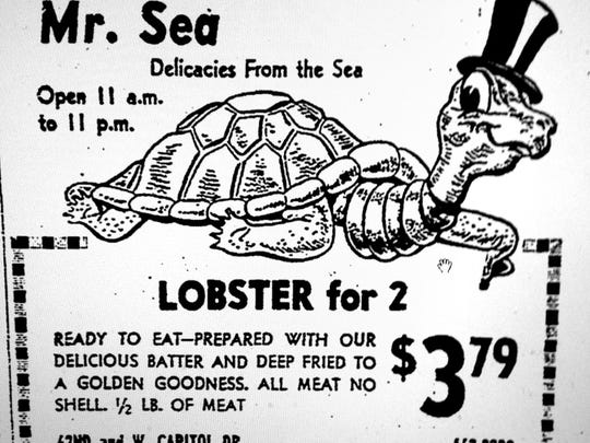 This ad for Mr. Sea ran in The Milwaukee Journal in 1970. It shows the design of the fiberglass turtle that covered the roof of the restaurant.