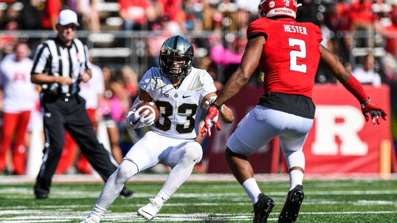 Oct 21, 2017; Piscataway, NJ, USA;Purdue Boilermakers wide receiver Jackson Anthrop (33) runs the ball after a reception against the Rutgers Scarlet Knights during the second quarter at High Point Solutions Stadium. Mandatory Credit: Dennis Schneidler-USA TODAY Sports