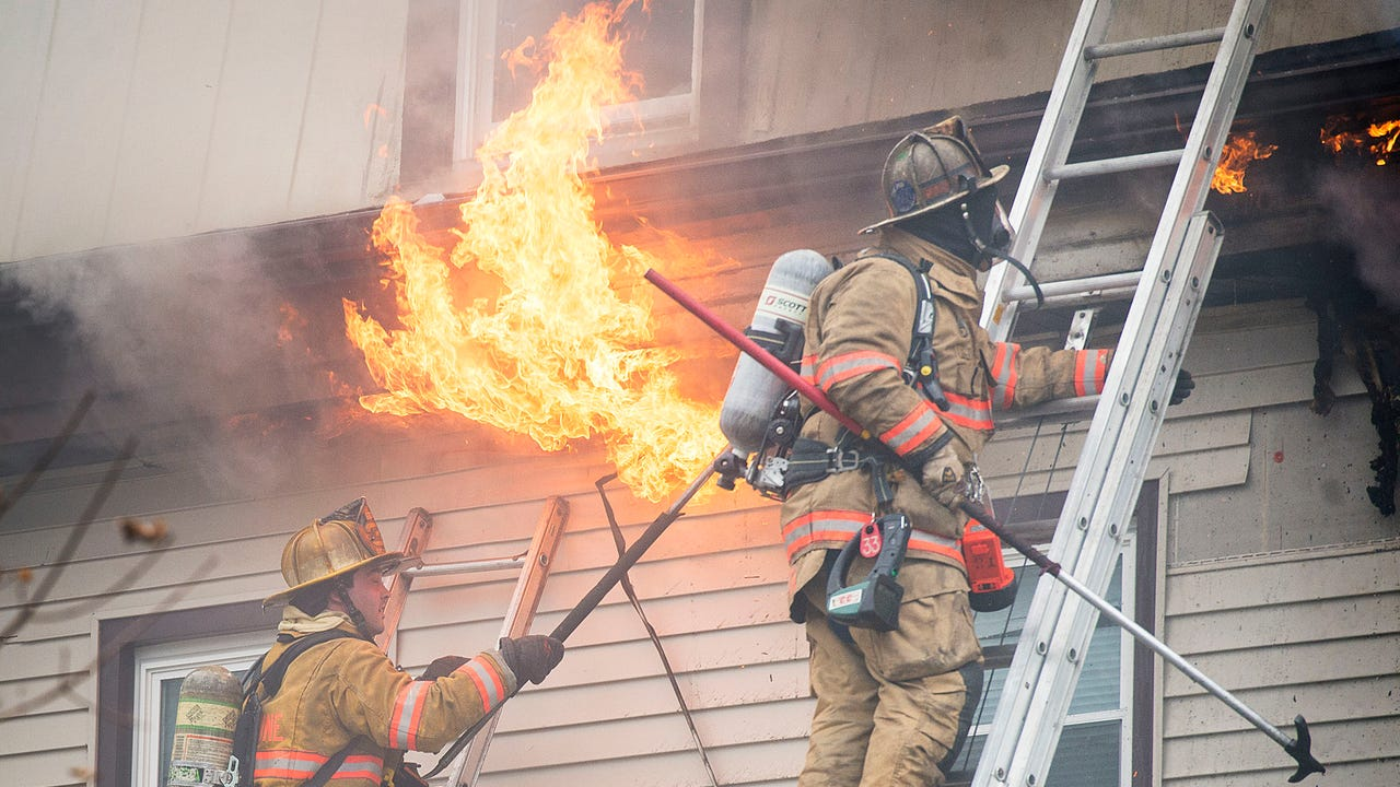 Fire crews responded to a two-alarm fire at 2196 Walnut Street in North Cornwall Township at about 3:18 p.m. Friday afternoon, Mar. 2.  A neighbor of the Walnut Street home, said he heard a loud boom. A short while later, he saw flames coming from an electric meter box at the side of the house. Wind appeared to create challenges in containing the fire.