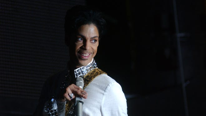 Prince headlining Coachella in 2008.
