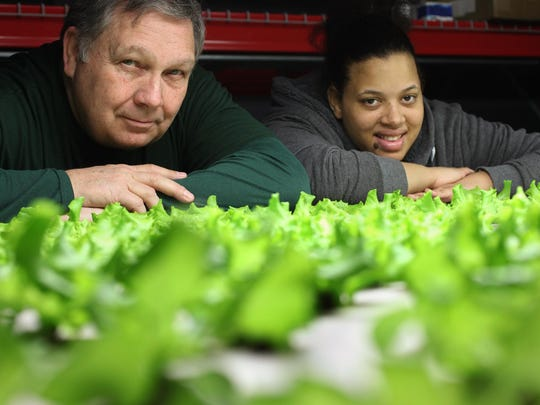 Jeff Adams and Yvette Evans from Artesian Farms, an indoor agriculture site in northwest Detroit. The farm was named a winner of a $55,000 grant in the first round of Motor City Match awards in 2015, but various complications have held up Adams in getting the city cash.