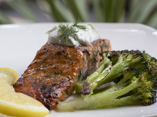 Dill and Sugar Brined Broiled Salmon with roasted broccoli. It can be topped with Cucumber-Yogurt Sauce.