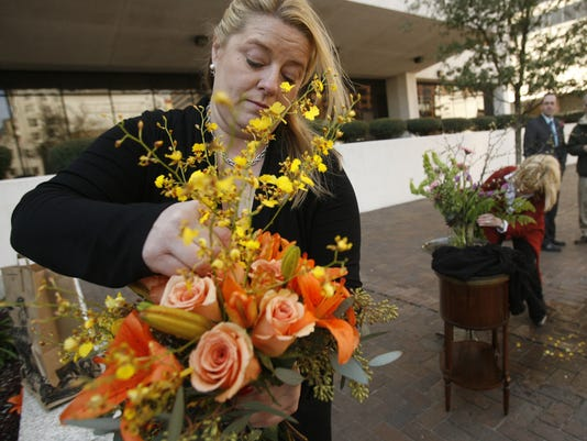 Unlicensed florist Monique Chauvin protests at the courthouse in New Orleans in 2010.