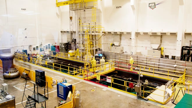 The reactor bay of the Oak Ridge National Laboratory High Flux Isotope Reactor complex in Ok Ridge, Tennessee on Thursday, June 22, 2017.
