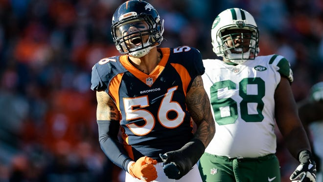 Denver Broncos outside linebacker Shane Ray reacts after a play in the second quarter against the New York Jets at Sports Authority Field at Mile High in 2017. The team did not pick up the former first-round pick's fifth-year option. Mandatory Credit: Isaiah J. Downing-USA TODAY Sports