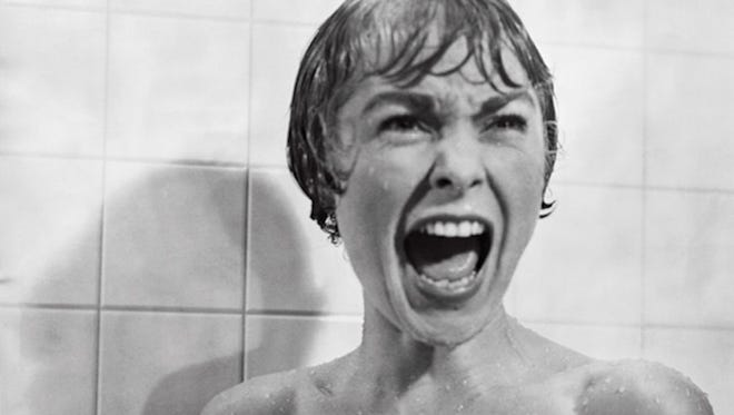 """Janet Leigh gets a big surprise when she rinses off in Alfred Hitchcock's """"Psycho"""" (1960)."""