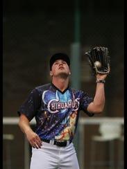 El Paso right fielder Hunter Renfroe catches a popup