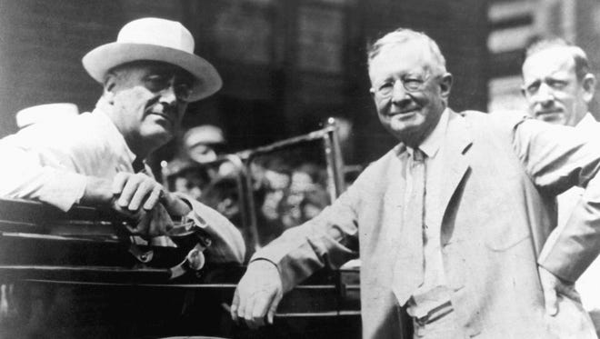 George F. Johnson, right, with President Franklin Roosevelt, around 1935.
