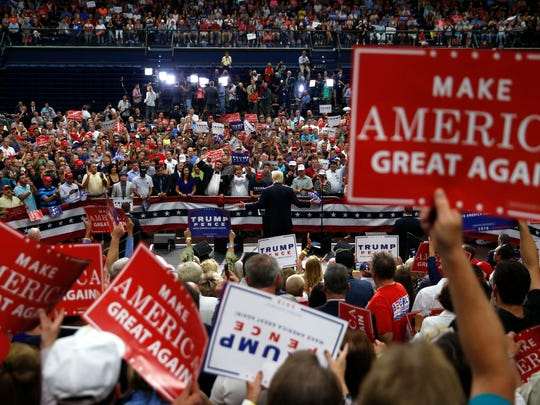 Donald Trump speaks at a campaign rally in Akron, Ohio,
