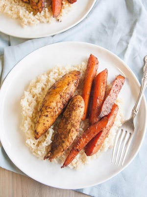 Paprika Chicken Carrots and Rice.