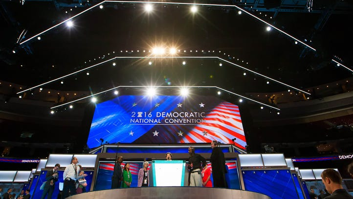 Area for the Delaware delegates that will arrive later in the afternoon on the first day of the Democratic National Convention which kicks off at the Wells Fargo Center in Philadelphia today.