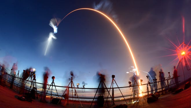 A SpaceX Falcon 9 rocket lifts off from Cape Canaveral Air Force Station Friday morning, June 29, 2018. The rocket is carrying cargo to the International Space Station.