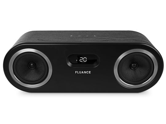 Designed with a wood cabinet, this solid-looking Bluetooth speaker from Fluance produces a natural, rich sound.