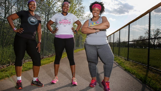 From left:  Tamiko Wiley, who has lost about 100 pounds; Tamea Mack, who has gone from 326 to 205 pounds in recent years and Kimberly DeWalt, who had brain surgery in August to repair A Cerebral spinal fluid leak; are all participating in shorter Flying Pig Marathon races.