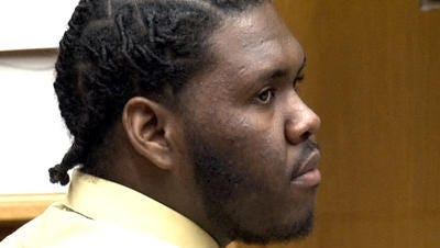 Jahmell W. Crockam is seen in Superior Court in Toms River in 2012 during his trial for the murder of Lakewood police Officer Christopher Matlosz.