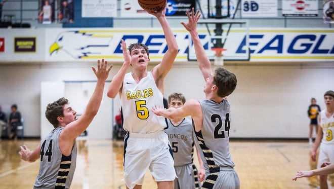 Delta's Josh Bryan, shown here last season against Daleville, tallied 27 points in a win over Winchester on Tuesday.