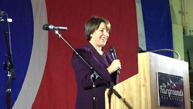U.S. Sen. Amy Klobuchar of Minnesota addresses the Tennessee Democratic Party on Friday, May 19.