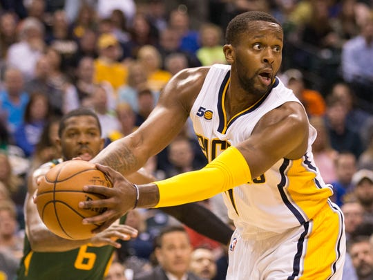 C.J. Miles, of Indiana, Utah Jazz at Indiana Pacers, Bankers Life Fieldhouse, Indianapolis, Monday, March 20, 2017. Indiana won 107-100.