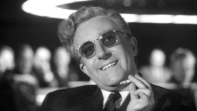 """Peter Sellers in Stanley Kubrick's political satire """"Dr. Strangelove or: How I Learned to Stop Worrying and Love the Bomb."""" The film screens Friday at the Visalia Fox Theatre."""