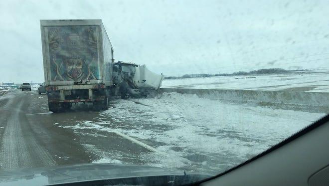 A semi hit a bridge on Interstate 29 near mile marker 85.