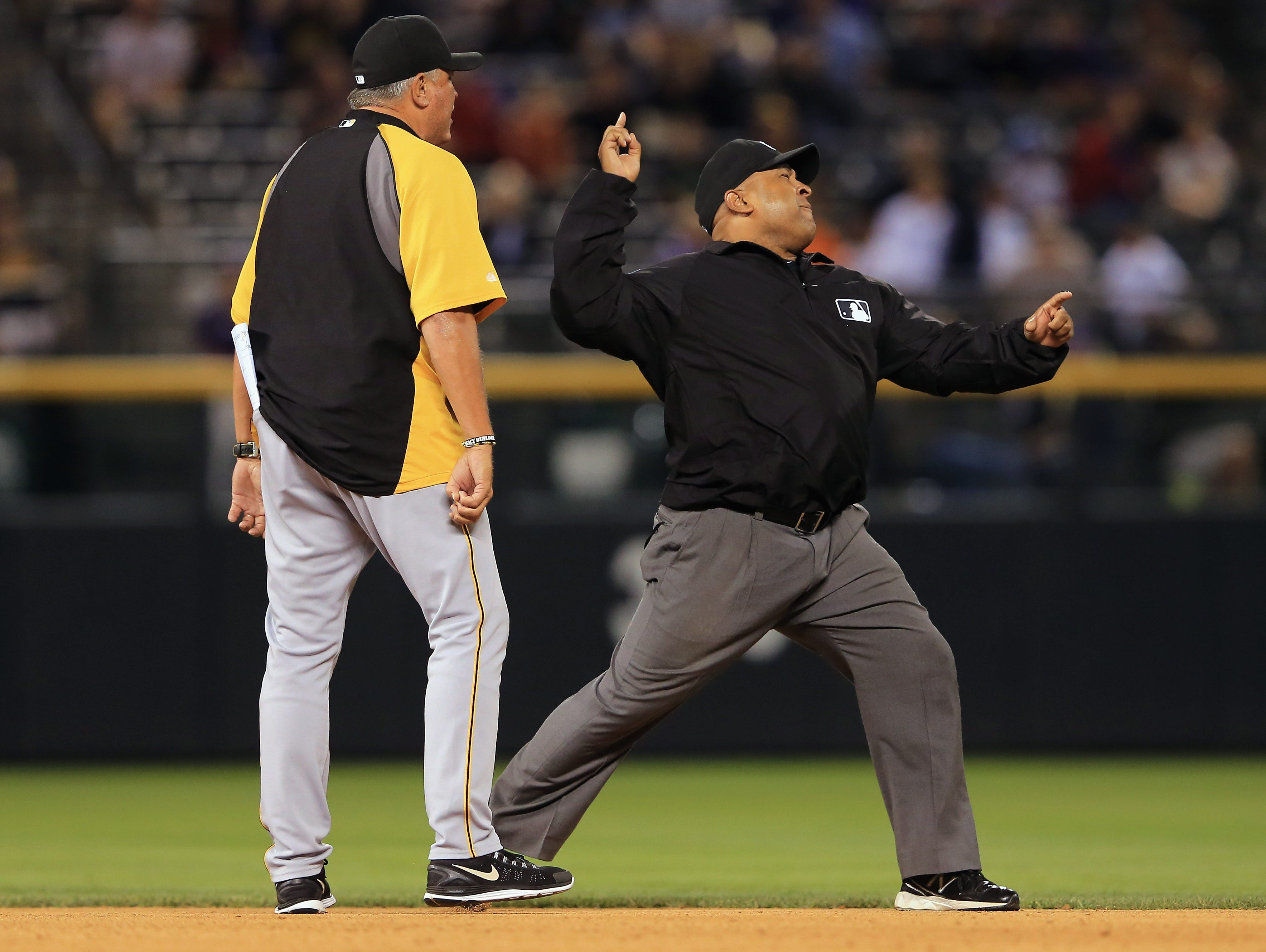 Aug. 10: Pirates manager Clint Hurdle is ejected from the game by second base umpire Adrian Johnson after arguing a call when Johnson called Alex Presley out in a double play by Troy Tulowitzki in the seventh inning.