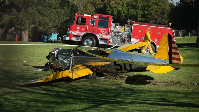 Harrison Ford's vintage plane after crashing at at golf course in Venice, Calif. on March 5, 2015.
