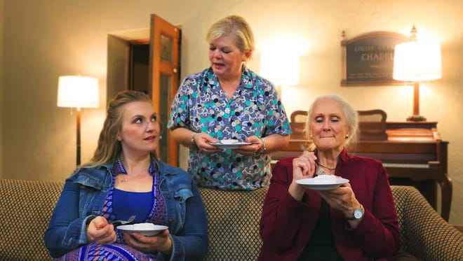 "Nicole Gorski (left), Donna Lobacz and Christine Horgen portray three women working things out in Boulevard Theatre's production of ""Small Things."""