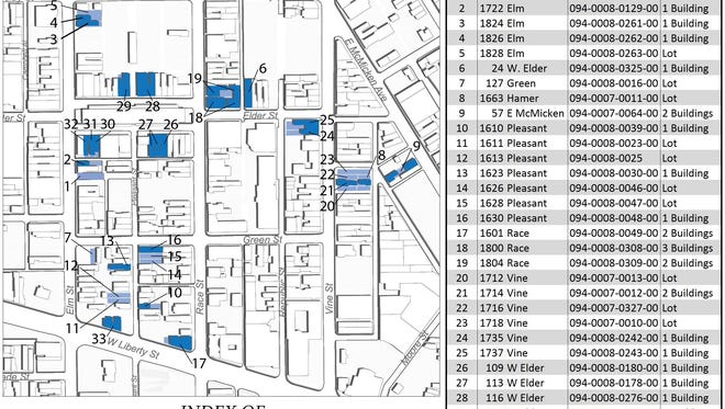 Map of city-owned properties north of Liberty Street in Over-the-Rhine that are open for development opportunities.