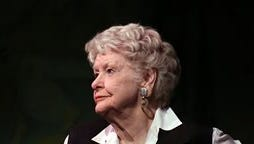 """This file image released by the O+M Company shows Elaine Stritch performing her final engagement at the Cafe Carlyle in New York with Rob Bowman at the piano. Actors Nathan Lane, Lena Hall and Holland Taylor and writer Liz Smith will lead a tribute to Elaine Stritch, on Monday. The show, """"Everybody, Rise! A Celebration of Elaine Stritch,"""" is directed by George C. Wolfe and will take place at The Al Hirschfeld Theatre.  Stritch died July 17, 2014, at her home in Birmingham, Mich. She was 89."""