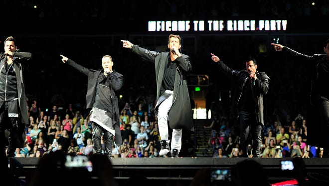 New Kids on the Block performs at Bridgestone Arena in 2015. The late-80s boy band hitmakers will return to Nashville on May 9, 2019.