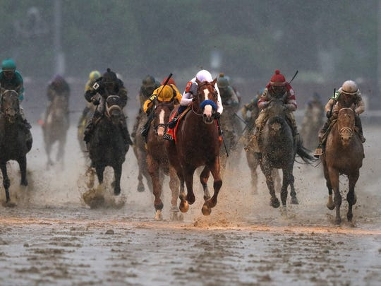 Justify leads the pack as he approaches the finish line to win the 144th Kentucky Derby at Churchill Downs in Louisville, Kentucky.May 5, 2018