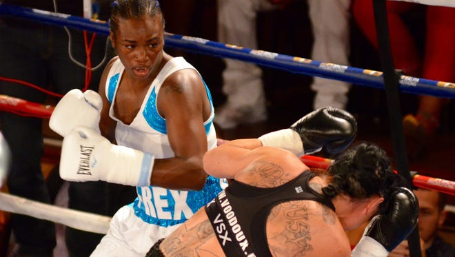 Claressa Shields, left, takes on Sydney LeBlanc in the Detroit Brawl at the Masonic Temple on June 16, 2017.