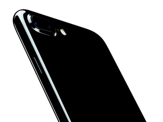 The back of a jet black iPhone 7 Plus.
