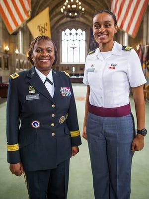 Lt. Gen. Gwendolyn Bingham and Cadet Simone Askew at West Point