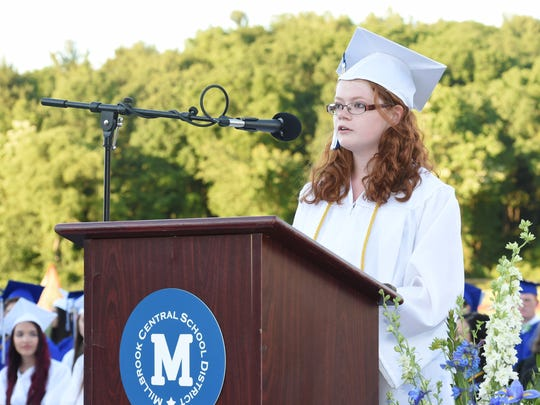 Millbrook High School Valedictorian, Sarah Remling delivers her address during Friday's commencement.